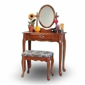 Awe Inspiring Details About Vanity Table Set Stool Bench Mirror Dressing Makeup Girls Bedroom Oak Furniture Gmtry Best Dining Table And Chair Ideas Images Gmtryco