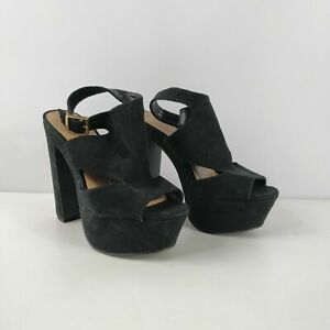 WOMENS-NEW-LOOK-BLACK-FAUX-SUEDE-BUCKLE-STRAP-PLATFORM-HIGH-HEELS-UK-5-EU-38