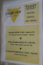 decals model art 72/037  spitfire  gazelle  sea venom