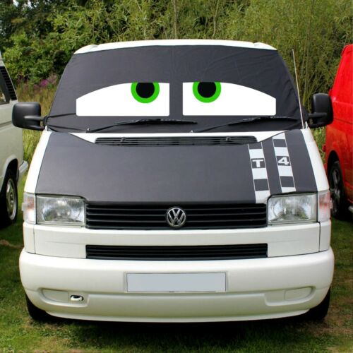 VW T4 Camper Van Front Window Screen Cover Wrap Black Out Blind Eyes Green