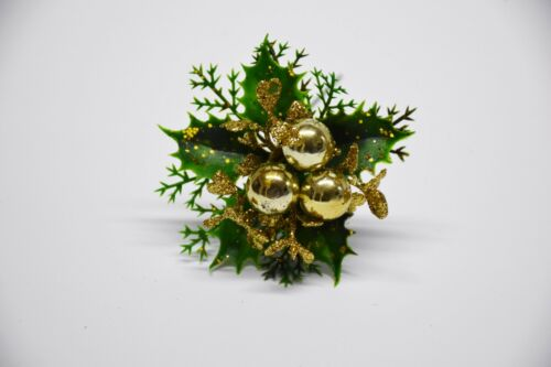 Christmas Decorations 6 Christmas picks gold with berries