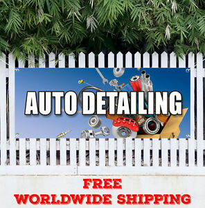 Auto Detailing Advertising Vinyl Banner Flag Sign Many Sizes Car