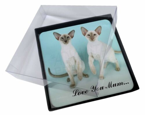 4x Siamese Cats 'Love You Mum' Picture Table Coasters Set in Gift Box, AC22lymC