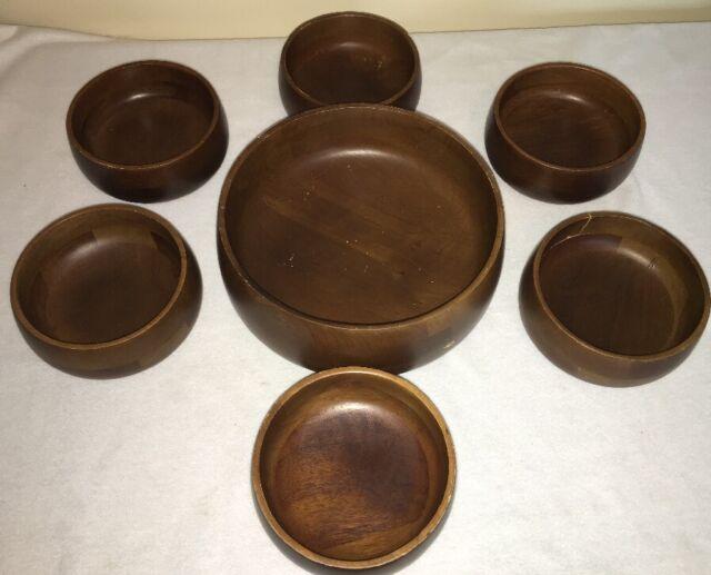 vintage hellerware dark stained teak wood salad bowl set wooden bowls 7 piece - Wooden Salad Bowl Set