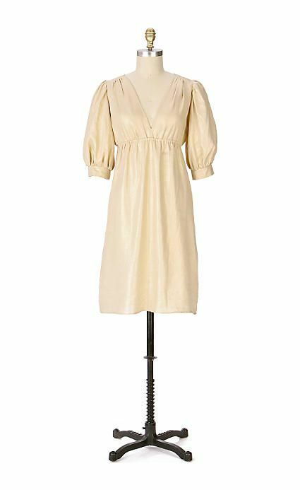 Fei Anthropologie S gold Linen Dress 3 4 sleeve Empire waist EUC metallic