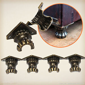 Antique Wood Case Feet Leg Corner Protector Jewelry Gift Box Decor Furniture QK