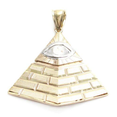 10K Gold /& White Gold Large Eye of Providence Pyramid Pendant