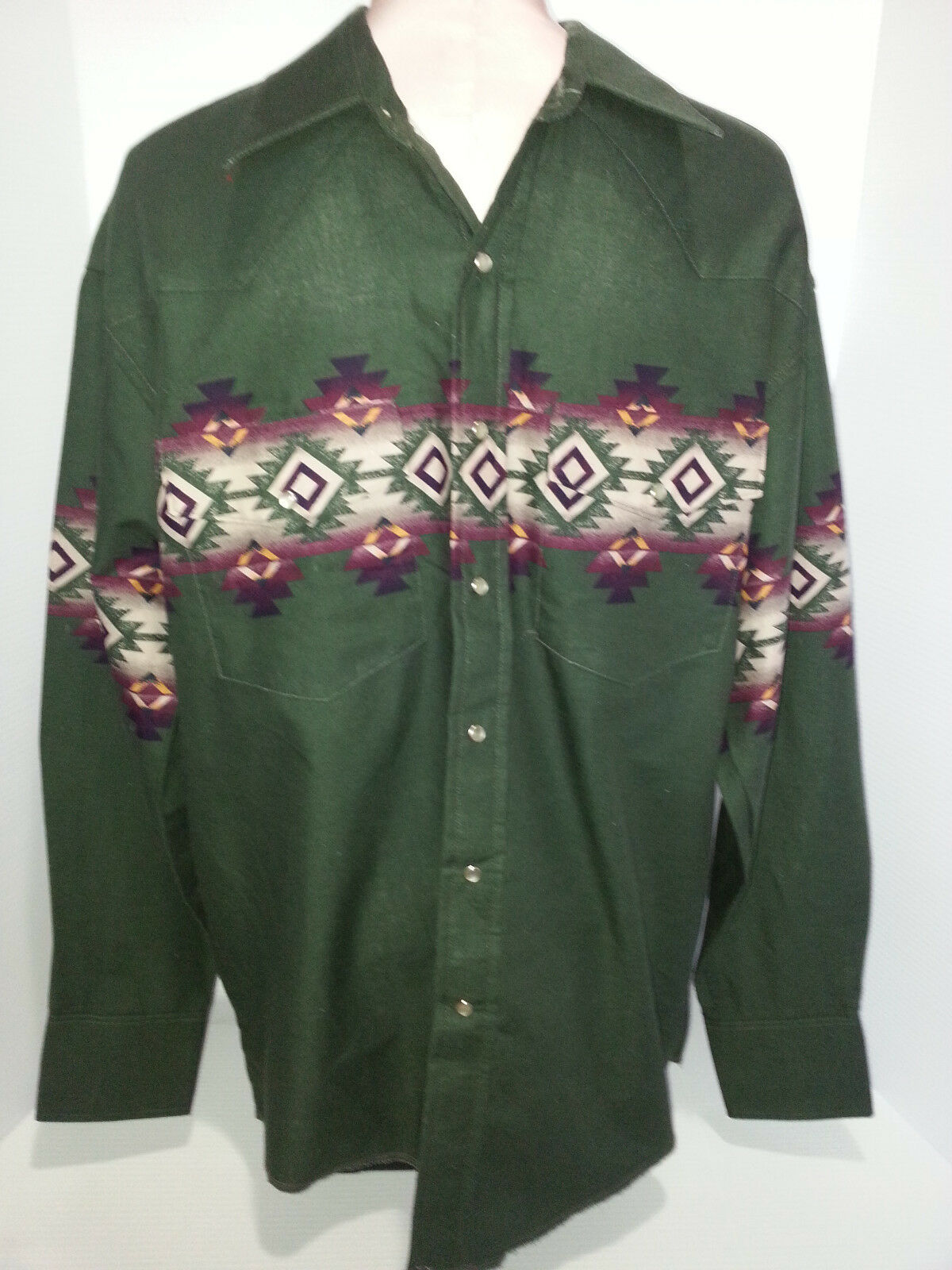 Wrangler Mens Western Cowboy Tribe Long Sleeve Pearl Snap Shirt Green Sz  Large