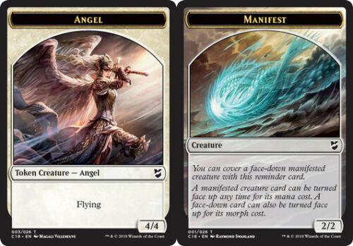 English Commander 2018 MTG Magic 10x Angel Token //// Manifest Token NM-Mint