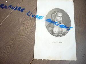 Aspasie Gravure Originale Vers 1830