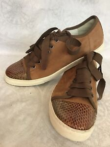 5336fc3b3dc Image is loading Lanvin-Shoe-Brown-suede-Ribbon-lace-up-snake-