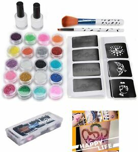 Glitter-Temporary-Tattoo-Kit-20-Colors-Powder-48-PCS-Stencil-2-Glue-2-Brush