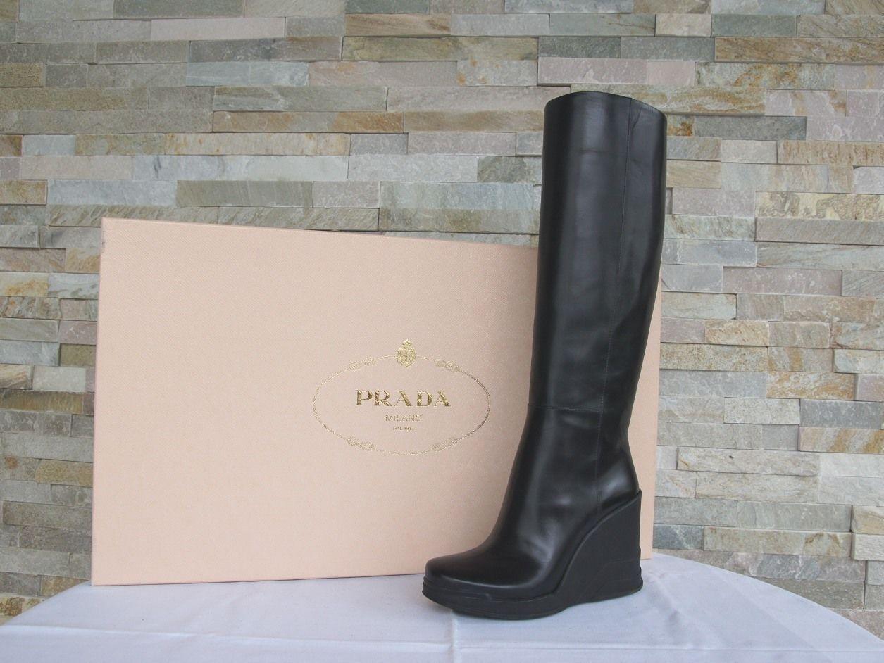 Damen Damen Damen Prada Gr 36 Plateau Keil Stiefel Stiefel 1WZ005 schwarz schwarz NEU 81834b