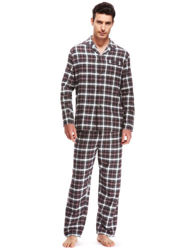 New M/&S Thermal  Pure Brushed Cotton Burgundy Checked  Pyjamas Sz M L