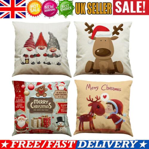 "18/"" Christmas Xmas Linen Cushion Cover Pillow Case Home Decor Reindeer Snow Tree"