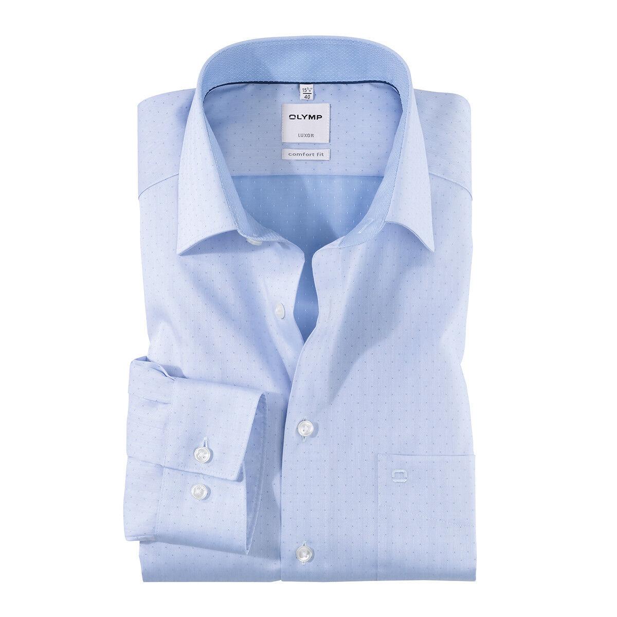 XXL Olymp Langarmhemd hellblau modische Details 44 46 48 50 NEU Übergröße