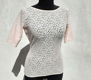 WOLFORD-Women-039-s-SHEER-FLORAL-LACE-Boat-Neck-Short-Sleeve-Pullover-Top-Pink-Sz-M