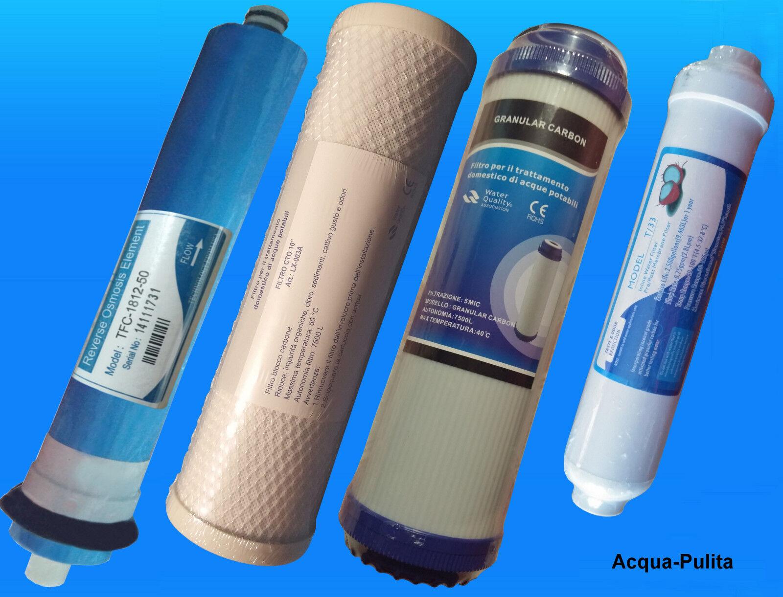 1 Filtro GAC + 1 Filtro Carbone CTO +1 Post Filtro Carbone + Membrana 50 galloni