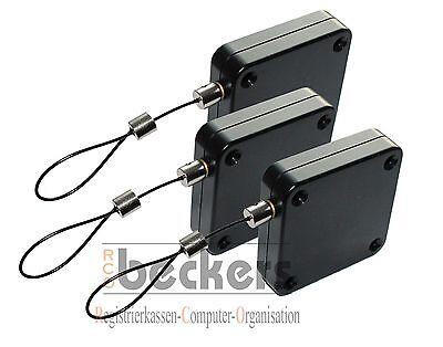 3 X Aufroller Mini Federzug Diebstahlsicherung Diebstahlschutz Warensicherung