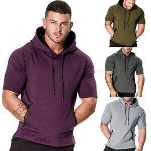 Fashion-Men-Short-Sleeve-Tee-Casual-Hooded-Hoodie-Summer-T-Shirt-Top-M-2XL