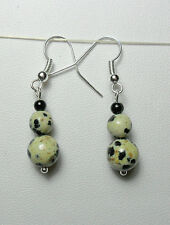 Dangle earrings - Dalmatian Jasper round beads 38mm long