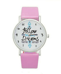 HORSE-amp-WESTERN-JEWELLERY-JEWELRY-FOLLOW-YOUR-DREAMS-AZTEC-PATTERN-WATCH-PINK