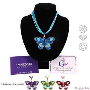 Collana argento Swarovski Elements originale G4Love Farfalla cristalli donna blu