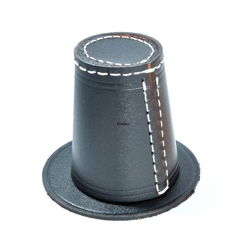 Würfelbecher Knobelbecher Leder in black black black und Natur mit Pads ohne Würfel Frobis 040ccf