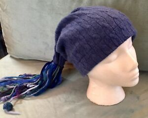 ec862ea2d8c31 Image is loading Dark-Blue-Cable-Pattern-Cashmere-Slouch-Hat-With-