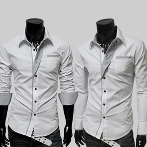 Men/'s Stylish Casual Dress Shirt Slim Fit Long Sleeve Formal T-Shirt Tops LI