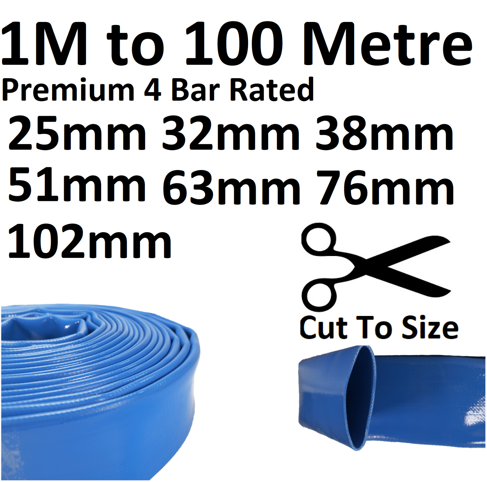 Layflat PVC Water Delivery Hose - Discharge Pipe Pump Lay Flat Irrigation