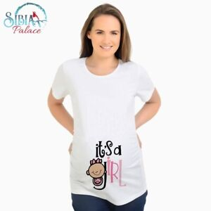 Ladies Maternity T Shirt Clothing Pregnancy Funny Baby Shower Gift Its A Girl Uk Ebay