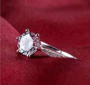Micro-inlay 1.0 Carat Cubic Zirconia 925 Sterling Silver Engagement Wedding Ring