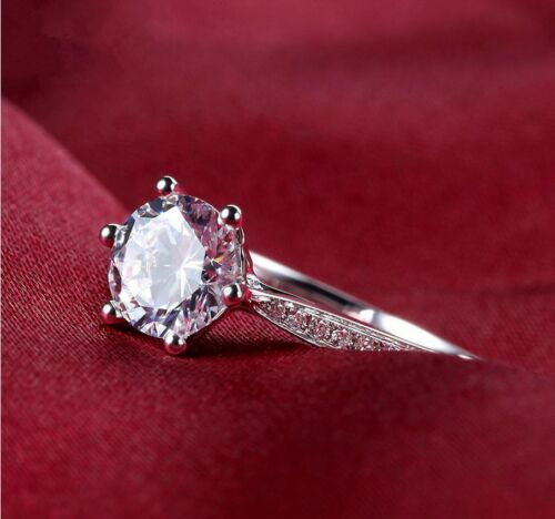 Micro-inlay 1 Ct Cubic Zirconia 925 Sterling Silver Engagement Promise Ring RS25