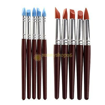 5X Clay Sculpting Wax Carving Pottery Tools Polymer Modeling Birch Handle Set