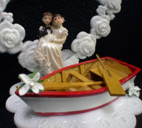 Wedding Cake Topper Row boat Fishing Honeymoon Lake Groom top Shower