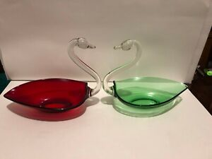 2 Vintage ? Duncan & Miller Glass Ruby Red & Emerald Green Swan Candy Dish Bowl