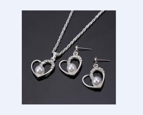 Schmuckset Halskette Ohrringe Herz Sterling Silber Zirkonia Ohrhänger  NEU