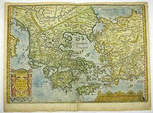 Türkische ägäis Karte.Griechenland Mazedonien Türkei ägäis Kol Kupferstich Karte Ortelius