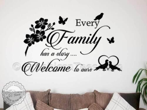 home wall art decal Autocollant Mural Famille chaque histoire de famille bienvenue à la nôtre