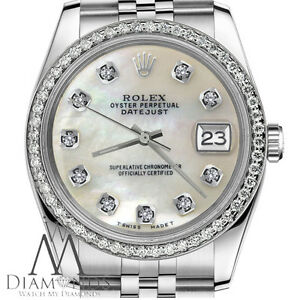 Rolex-36mm-Ladies-Datejust-White-Mother-Of-Pearl-Diamond-Dial-Stainless-Steel