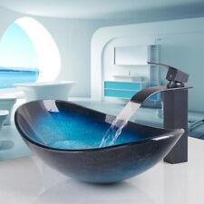 US Bathroom Vanity Brass Washbasin counter top basin Sink glass mixer faucet set