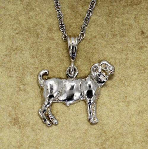 """Champion Boer Goat Necklace on 18/"""" chain in Sterling Silver Goat Jewelry"""