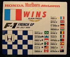 Original F-1 Sticker French GP 9 July 1989 Paul RicardWins Alain Prost Honda McL
