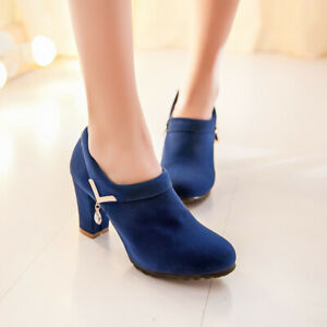 Womens-Ladies-Block-High-Heels-Office-Round-Toe-Pumps-Faux-Suede-Shoe-Ankle-Boot