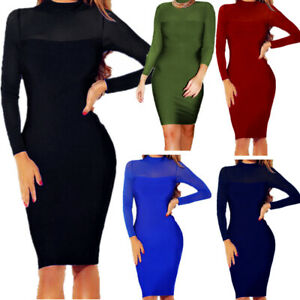Women-Bandage-Bodycon-Long-Mini-Dress-Casual-Sleeve-Evening-Party-Cocktail-Club