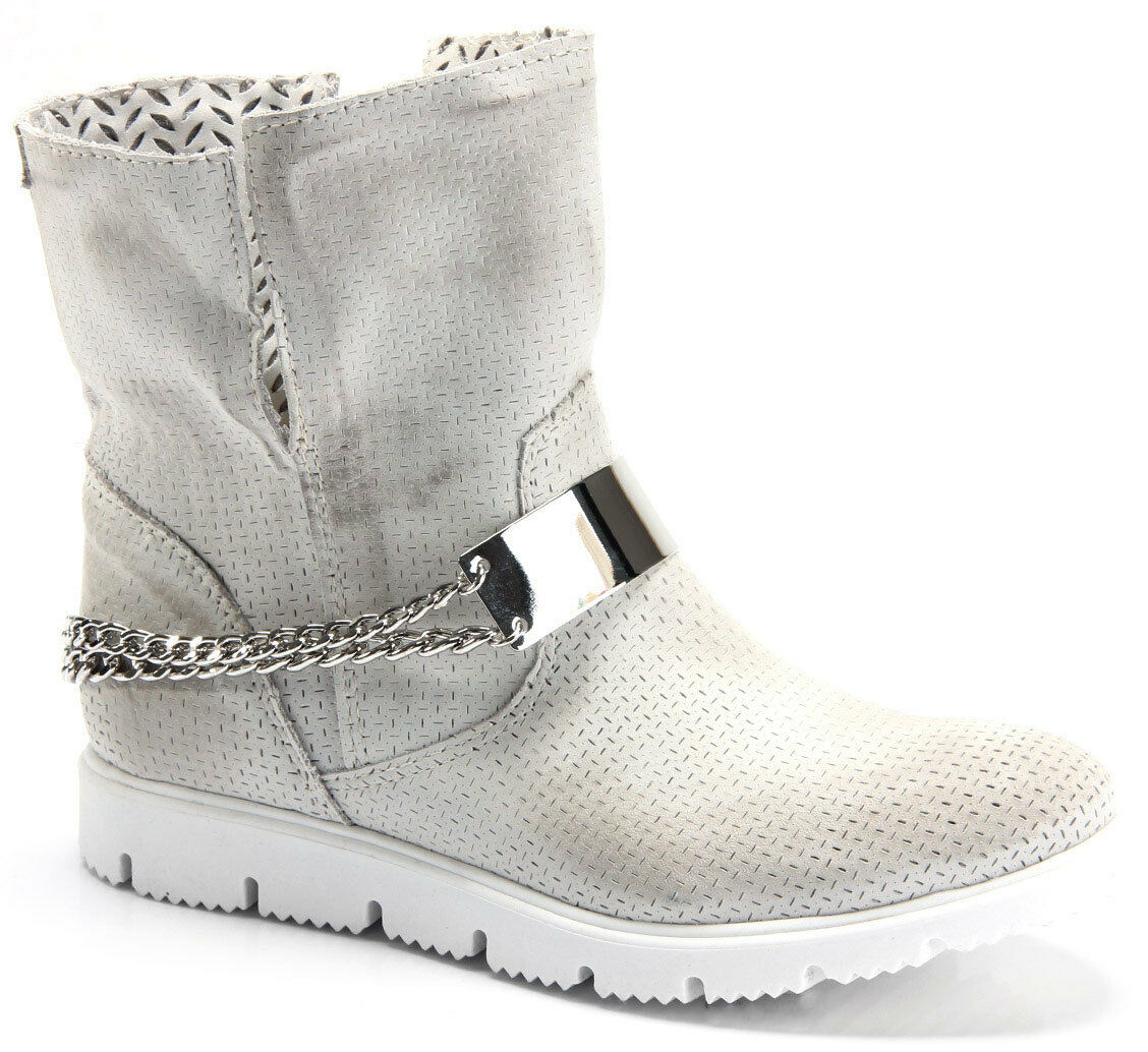 Grey Faded Leather Ankle Boots Slip Wedge Flat Platform Sneakers shoes 7