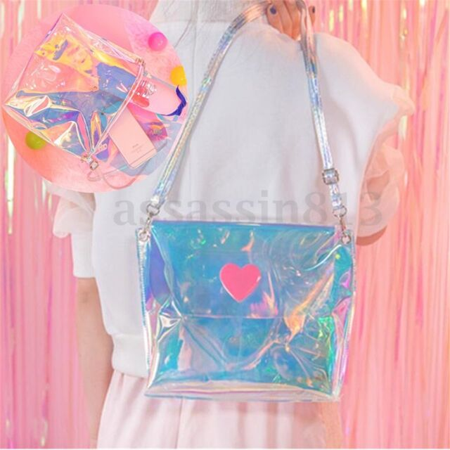Women Holographic Colorful Tote Hologram PVC Laser Purse Shoulder Crossbody Bag
