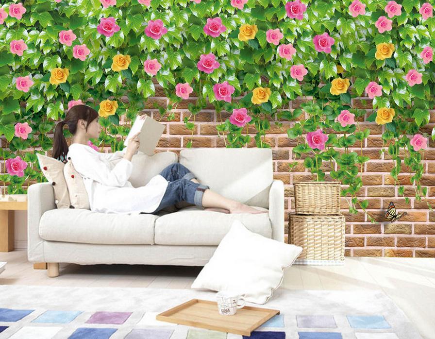 3D 3D 3D Petals Vines 485 Wallpaper Murals Wall Print Wallpaper Mural AJ WALL UK Lemon d14cd5