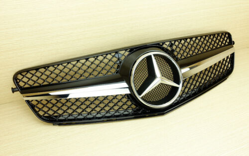 Chrome Star Gloss Black Front Grill For Mercedes Benz 08-13 C-Class W204 SL Look